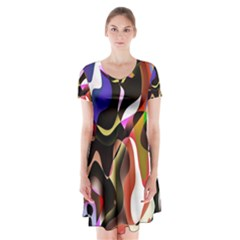 Colourful Abstract Background Design Short Sleeve V Neck Flare Dress