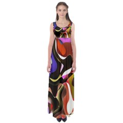 Colourful Abstract Background Design Empire Waist Maxi Dress