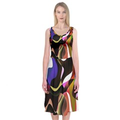 Colourful Abstract Background Design Midi Sleeveless Dress
