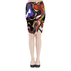 Colourful Abstract Background Design Midi Wrap Pencil Skirt