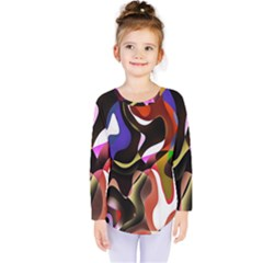 Colourful Abstract Background Design Kids  Long Sleeve Tee