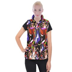 Colourful Abstract Background Design Women s Button Up Puffer Vest