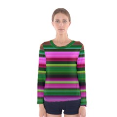 Multi Colored Stripes Background Wallpaper Women s Long Sleeve Tee