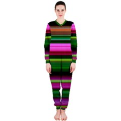 Multi Colored Stripes Background Wallpaper OnePiece Jumpsuit (Ladies)