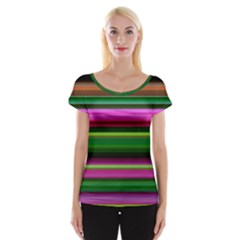 Multi Colored Stripes Background Wallpaper Women s Cap Sleeve Top