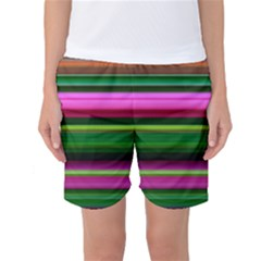 Multi Colored Stripes Background Wallpaper Women s Basketball Shorts