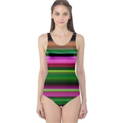 Multi Colored Stripes Background Wallpaper One Piece Swimsuit