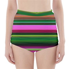 Multi Colored Stripes Background Wallpaper High-Waisted Bikini Bottoms