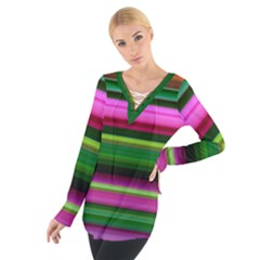 Multi Colored Stripes Background Wallpaper Women s Tie Up Tee