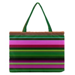 Multi Colored Stripes Background Wallpaper Medium Zipper Tote Bag