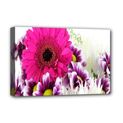 Pink Purple And White Flower Bouquet Deluxe Canvas 18  x 12