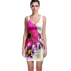 Pink Purple And White Flower Bouquet Sleeveless Bodycon Dress