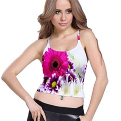 Pink Purple And White Flower Bouquet Spaghetti Strap Bra Top