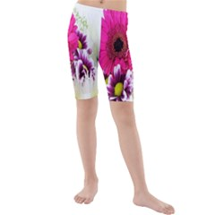 Pink Purple And White Flower Bouquet Kids  Mid Length Swim Shorts