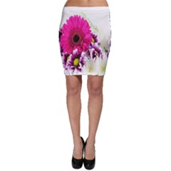 Pink Purple And White Flower Bouquet Bodycon Skirt