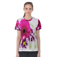 Pink Purple And White Flower Bouquet Women s Cotton Tee