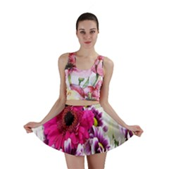 Pink Purple And White Flower Bouquet Mini Skirt