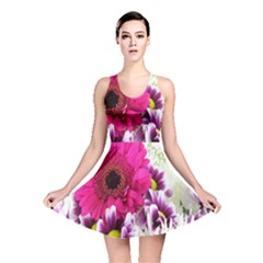 Pink Purple And White Flower Bouquet Reversible Skater Dress