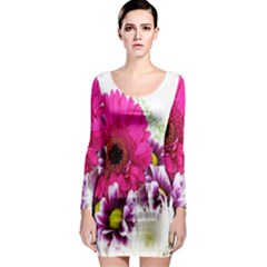 Pink Purple And White Flower Bouquet Long Sleeve Bodycon Dress