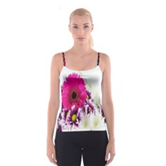 Pink Purple And White Flower Bouquet Spaghetti Strap Top