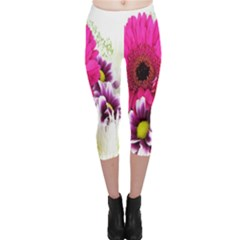 Pink Purple And White Flower Bouquet Capri Leggings