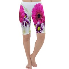 Pink Purple And White Flower Bouquet Cropped Leggings