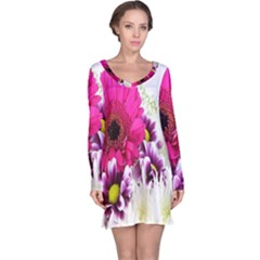 Pink Purple And White Flower Bouquet Long Sleeve Nightdress