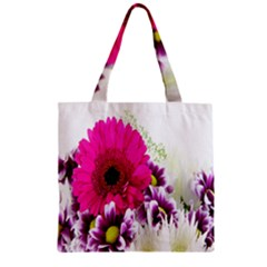 Pink Purple And White Flower Bouquet Zipper Grocery Tote Bag