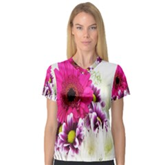 Pink Purple And White Flower Bouquet Women s V-Neck Sport Mesh Tee