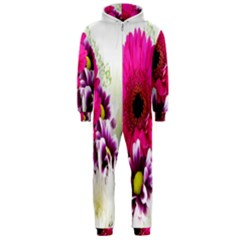 Pink Purple And White Flower Bouquet Hooded Jumpsuit (Men)
