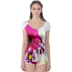 Pink Purple And White Flower Bouquet Boyleg Leotard