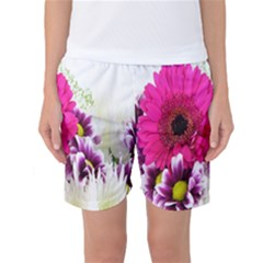 Pink Purple And White Flower Bouquet Women s Basketball Shorts