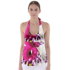 Pink Purple And White Flower Bouquet Babydoll Tankini Top
