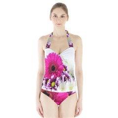 Pink Purple And White Flower Bouquet Halter Swimsuit