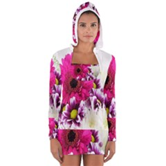 Pink Purple And White Flower Bouquet Women s Long Sleeve Hooded T Shirt