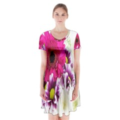 Pink Purple And White Flower Bouquet Short Sleeve V Neck Flare Dress