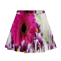 Pink Purple And White Flower Bouquet Mini Flare Skirt