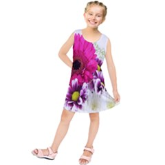 Pink Purple And White Flower Bouquet Kids  Tunic Dress
