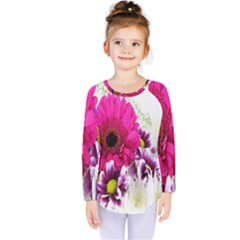 Pink Purple And White Flower Bouquet Kids  Long Sleeve Tee