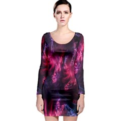 Abstract Fractal Background Wallpaper Long Sleeve Bodycon Dress