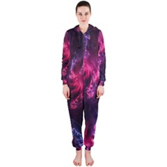 Abstract Fractal Background Wallpaper Hooded Jumpsuit (Ladies)