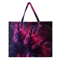 Abstract Fractal Background Wallpaper Zipper Large Tote Bag