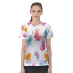 Butterfly Pattern Vector Art Wallpaper Women s Sport Mesh Tee