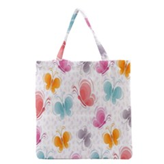 Butterfly Pattern Vector Art Wallpaper Grocery Tote Bag