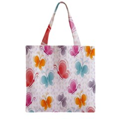 Butterfly Pattern Vector Art Wallpaper Zipper Grocery Tote Bag