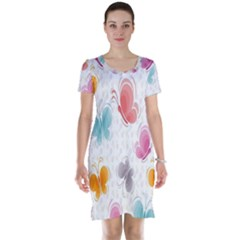 Butterfly Pattern Vector Art Wallpaper Short Sleeve Nightdress