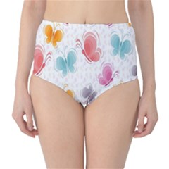 Butterfly Pattern Vector Art Wallpaper High-Waist Bikini Bottoms