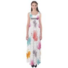 Butterfly Pattern Vector Art Wallpaper Empire Waist Maxi Dress