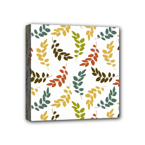 Colorful Leaves Seamless Wallpaper Pattern Background Mini Canvas 4  X 4