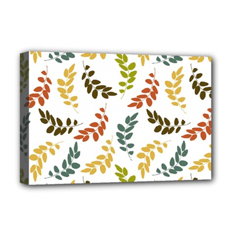 Colorful Leaves Seamless Wallpaper Pattern Background Deluxe Canvas 18  x 12